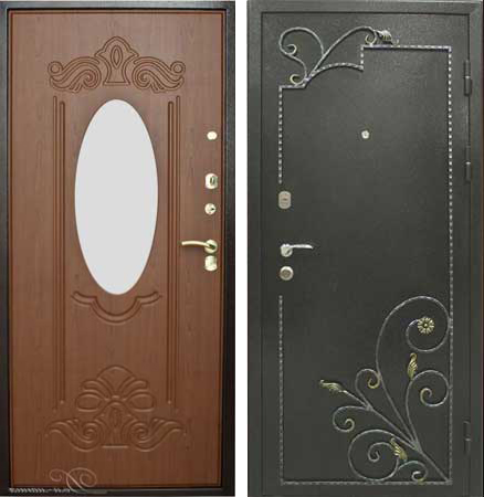 металлическая дверь с зеркалом черноголовка