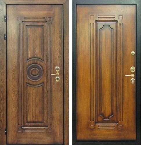 железные двери из массива дуба