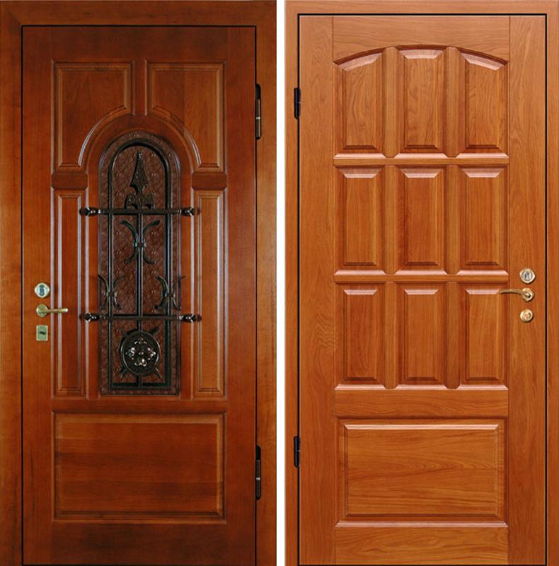 дубовая входная дверь клин