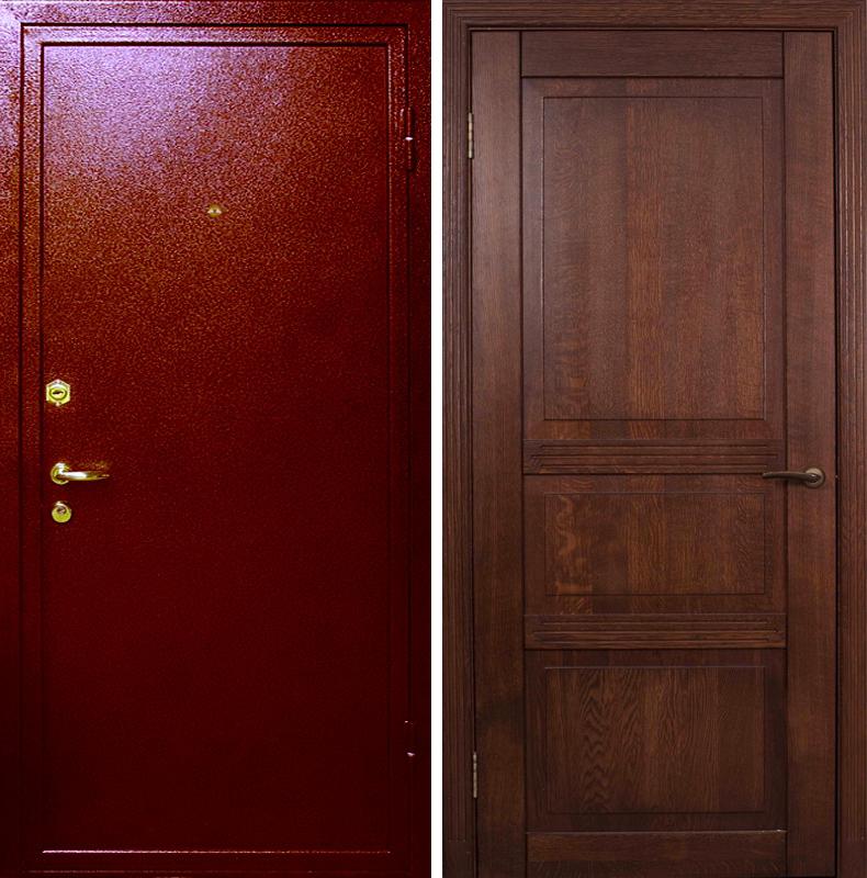 дверь входная стальная порошок массив дерева